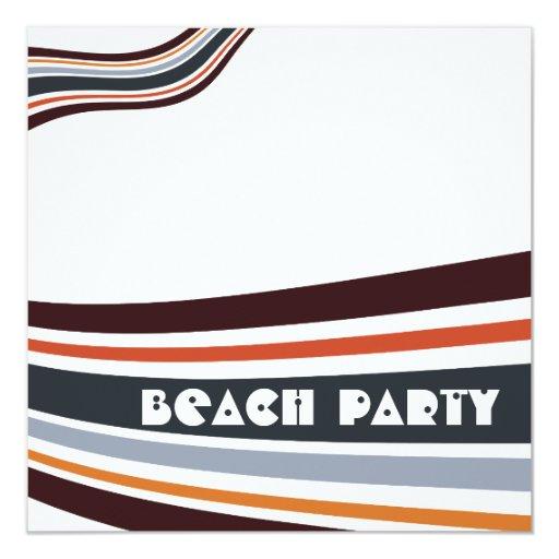 """Fiesta rayado pelota de playa de la playa del invitación 5.25"""" x 5.25"""""""
