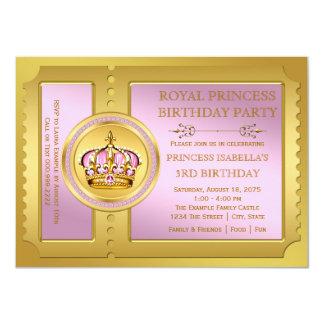 """Fiesta real del rosa y de la princesa cumpleaños invitación 4.5"""" x 6.25"""""""