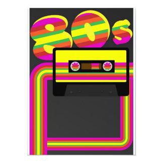 """fiesta retro 80s invitación 5.5"""" x 7.5"""""""