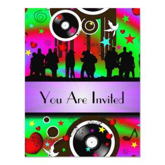 """Fiesta retro colorido de la música de la diversión invitación 4.25"""" x 5.5"""""""