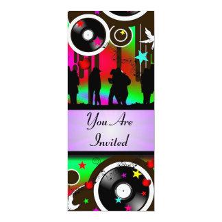 """Fiesta retro colorido de la música de la diversión invitación 4"""" x 9.25"""""""