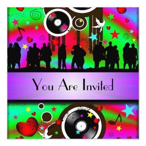 """Fiesta retro colorido de la música de la diversión invitación 5.25"""" x 5.25"""""""