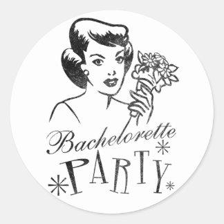 Fiesta retro de Bachelorette Pegatina Redonda