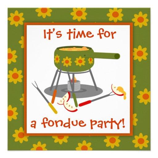 """Fiesta retro de la """"fondue"""" de la margarita verde  invitación personalizada"""