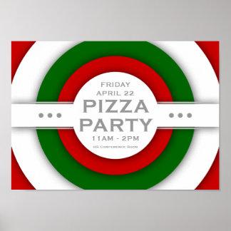 fiesta retro de la PIZZA Póster