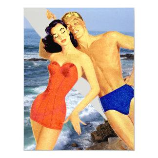 Fiesta retro de la playa invitación 10,8 x 13,9 cm