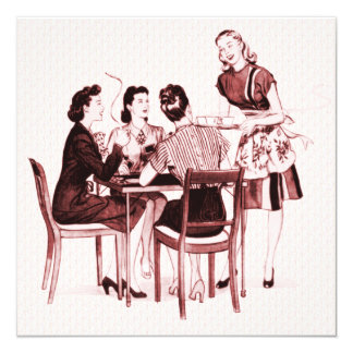"""Fiesta retro de la tarjeta de los años 40 invitación 5.25"""" x 5.25"""""""