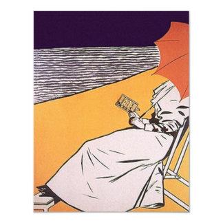 """Fiesta retro del hogar de la playa del ~ de la invitación 4.25"""" x 5.5"""""""