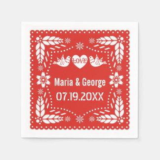 Fiesta roja del boda de los pájaros del amor del servilleta de papel