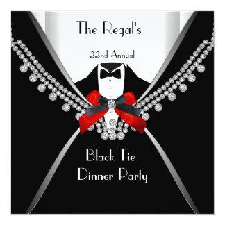 Fiesta rojo blanco 2 del arco de la cena de lazo invitación 13,3 cm x 13,3cm