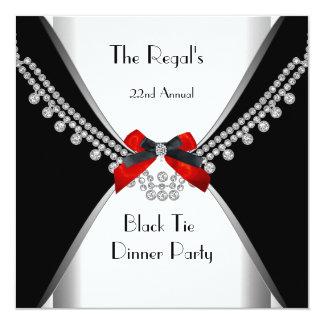 Fiesta rojo blanco 3 del arco de la cena de lazo invitación 13,3 cm x 13,3cm