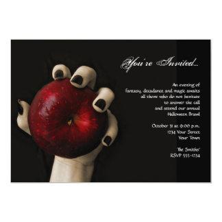"""Fiesta rojo de Apple Halloween de la bruja Invitación 5"""" X 7"""""""