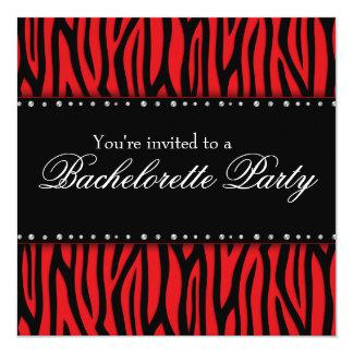 """Fiesta rojo de Bachelorette de los diamantes de la Invitación 5.25"""" X 5.25"""""""
