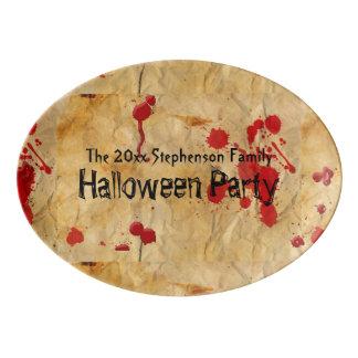 Fiesta rojo de Halloween de la salpicadura de la Badeja De Porcelana