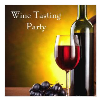 """Fiesta rojo de la degustación de vinos de la invitación 5.25"""" x 5.25"""""""