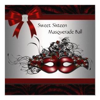 Fiesta rojo de la mascarada de la máscara invitacion personalizada