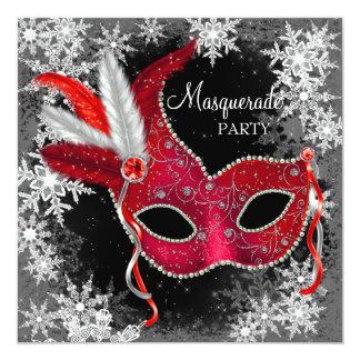 Fiesta rojo de la mascarada del copo de nieve invitaciones personalizada