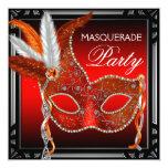 Fiesta rojo de la mascarada del negro rojo de la invitación 13,3 cm x 13,3cm