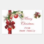 Fiesta rojo de Navidad del oro blanco de las bolas Rectangular Pegatina