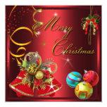 Fiesta rojo de Navidad del oro Invitación 13,3 Cm X 13,3cm