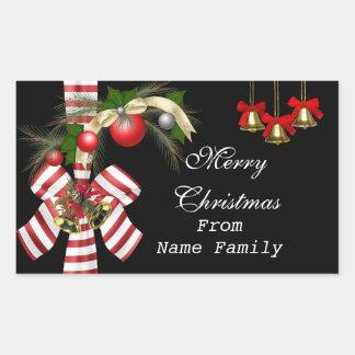 Fiesta rojo de Navidad del oro negro de las bolas Pegatina Rectangular
