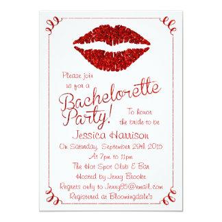 """Fiesta rojo de rubíes de Bachelorette del efecto Invitación 5"""" X 7"""""""