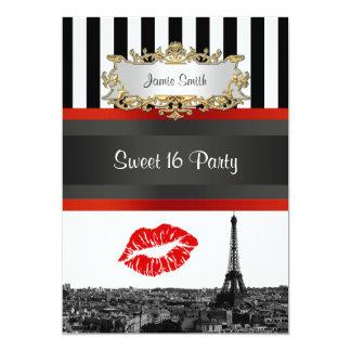 """Fiesta rojo del dulce 16 del beso de la raya de BW Invitación 5"""" X 7"""""""