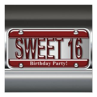 """Fiesta rojo del dulce dieciséis de la placa invitación 5.25"""" x 5.25"""""""