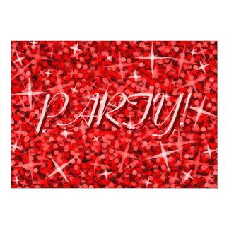 """Fiesta rojo del Glitz """"!"""" texto rosado de la Invitación 5"""" X 7"""""""