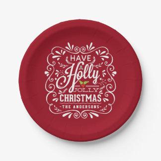 Fiesta rojo del navidad del acebo de la tiza del plato de papel de 7 pulgadas