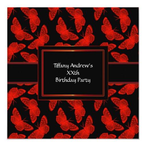 """Fiesta rojo del negro rojo de la mariposa invitación 5.25"""" x 5.25"""""""