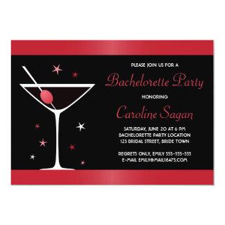 "Fiesta rojo elegante del bachelorette de martini invitación 5"" x 7"""