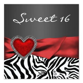 Fiesta rojo elegante del dulce 16 de la cebra invitación personalizada