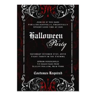 """Fiesta rojo negro fantasmagórico de Halloween del Invitación 5"""" X 7"""""""