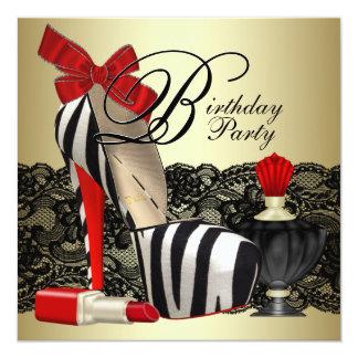 """Fiesta rojo rojo de la cebra del negro de zapatos invitación 5.25"""" x 5.25"""""""