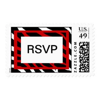 Fiesta rojo RSVP de la cebra Timbre Postal