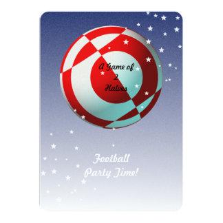 """Fiesta rojo y blanco del fútbol (foto) invitación 5"""" x 7"""""""