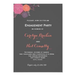Fiesta romántico de Enagagement de las flores Invitación 12,7 X 17,8 Cm