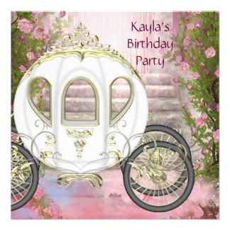 Fiesta rosada de la princesa cumpleaños de los ros comunicados personalizados