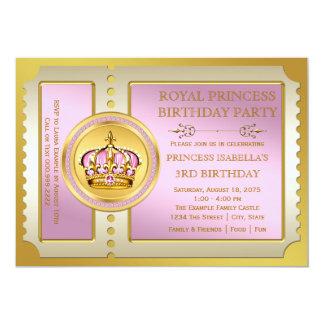 """Fiesta rosada de la princesa cumpleaños invitación 5"""" x 7"""""""