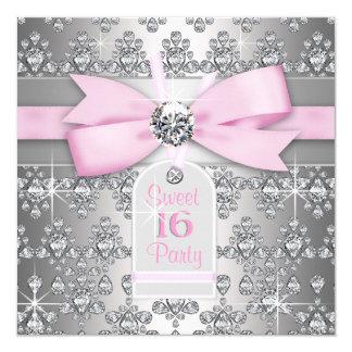 Fiesta rosada y gris del diamante de plata de invitación 13,3 cm x 13,3cm