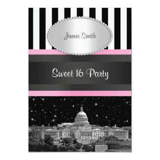 """Fiesta rosado blanco del dulce 16 de Bk Strp del Invitación 5"""" X 7"""""""