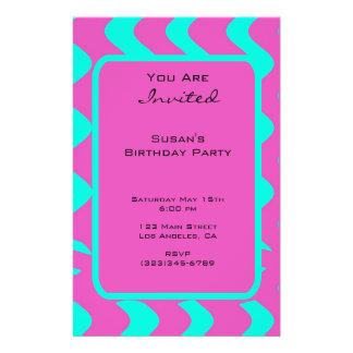 fiesta rosado brillante del tuquoise flyer personalizado