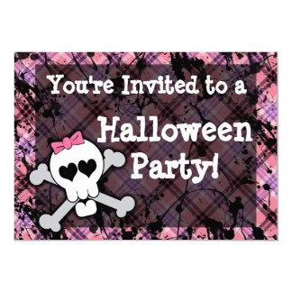"""Fiesta rosado de Halloween del cráneo del chica Invitación 5"""" X 7"""""""