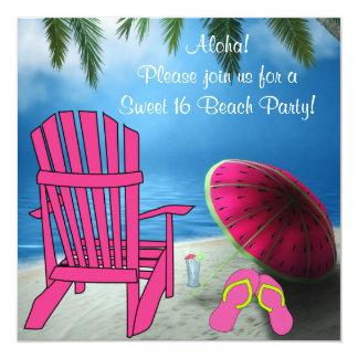 Fiesta rosado de la playa del dulce 16 de los comunicados personalizados