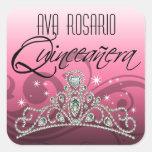 Fiesta (rosado) de la tiara el chispear del MI Calcomanía Cuadradas Personalizadas