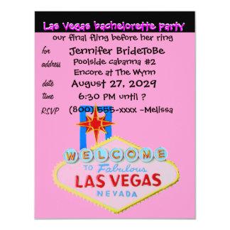 "Fiesta rosado de Las Vegas Bachelorette Invitación 4.25"" X 5.5"""