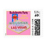 Fiesta rosado de Las Vegas Bachelorette Sellos Postales
