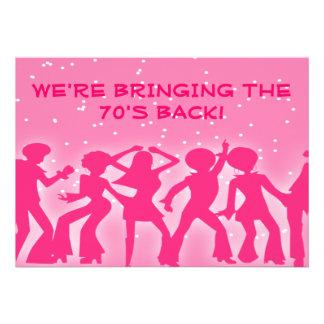 Fiesta rosado de los años 70 del tema del disco comunicado