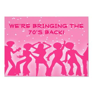 """Fiesta rosado de los años 70 del tema del disco invitación 5"""" x 7"""""""